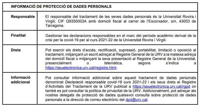 taula informació de protecció de dades personals